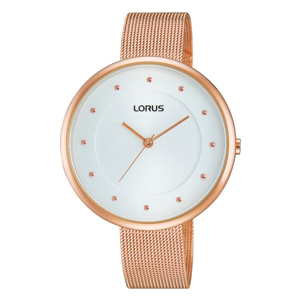 Lorus Ladies Just Sparkle Large Dial Rose Mesh Bracelet Watch RG288JX9