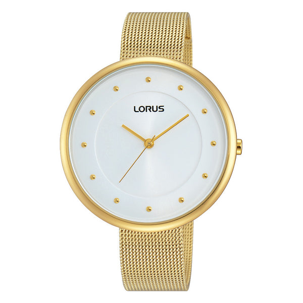 Lorus Ladies Just Sparkle Large Dial Gold Mesh Bracelet Watch RG290JX9
