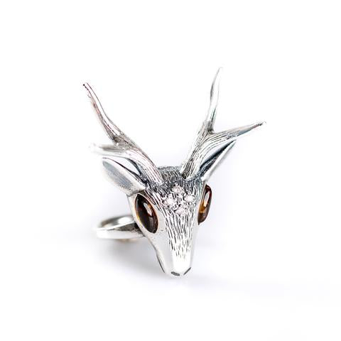 Henryka Large Stag Head Ring in Silver and Amber