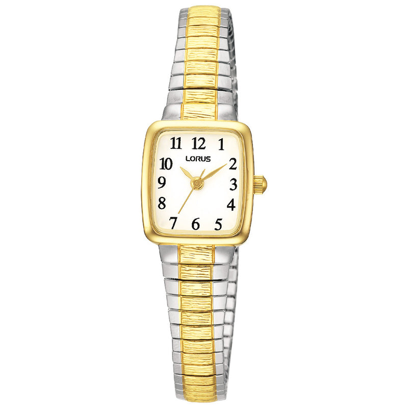 Lorus Ladies Two Tone Square Case Expanding Bracelet Watch RPH58AX9