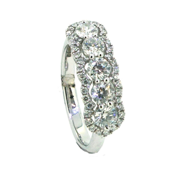 5 Stone Diamond Halo Ring 0.94ct 18ct White Gold