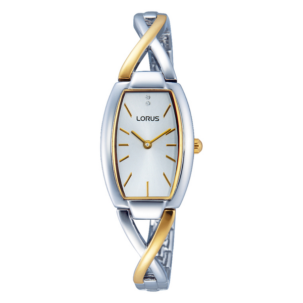 Lorus Ladies Two Tone Cross Over Bracelet Watch RRW51EX9