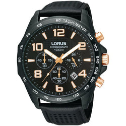 Lorus Men's Black Chronograph Strap Watch RT355CX9