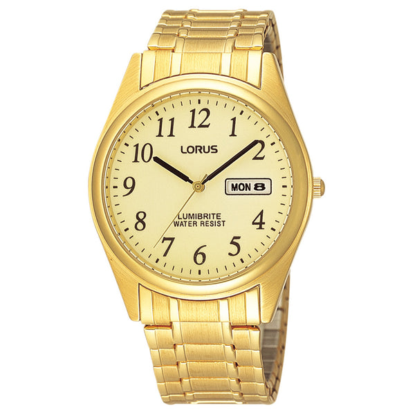 Lorus Men's Gold Tone Lumibrite Expanding Bracelet Watch RXN98AX9