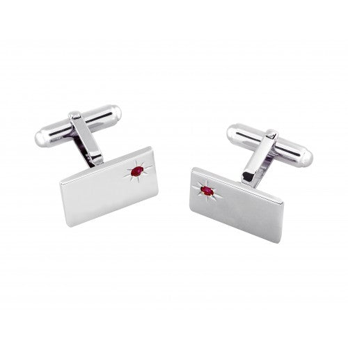 Sterling Silver Ruby Set Rectangular Cufflinks