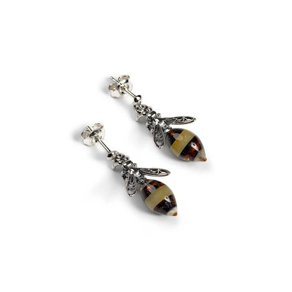 Henryka Hornet / Bee Drop Earrings in Silver and Amber