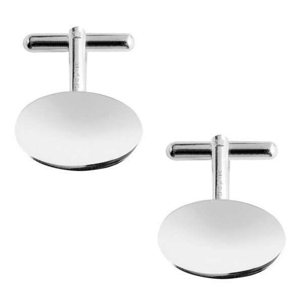 Sterling Silver Oval Cufflinks 9119