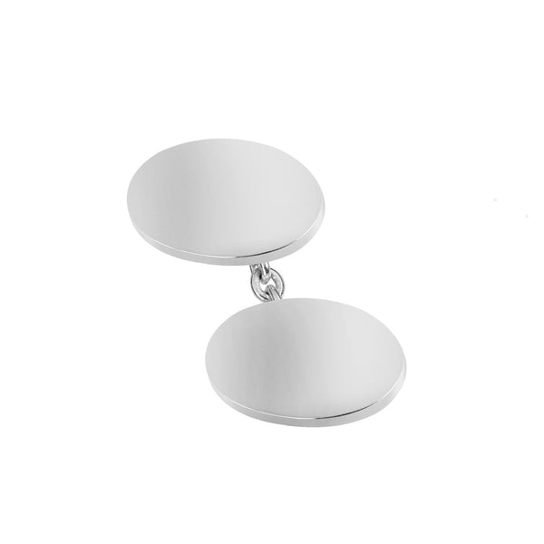 Sterling Silver Plain Oval Chain Cufflinks