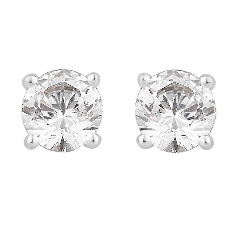 18ct White Gold Claw Set Diamond Stud Earrings 1.25ct