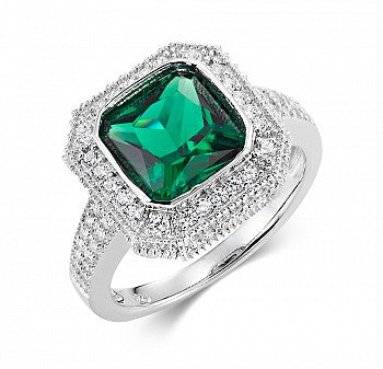 Silver CZ Vintage Style Green Ring