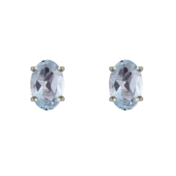 9ct White Gold Oval Aquamarine Stud Earrings