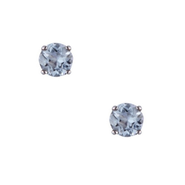 9ct White Gold 3mm Aquamarine Stud Earrings