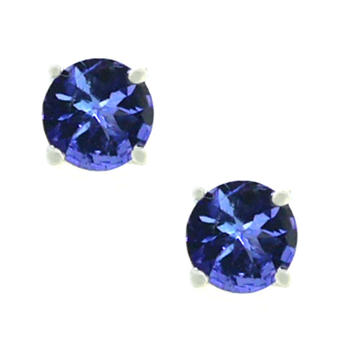 9ct White Gold 5mm Tanzanite Stud Earrings