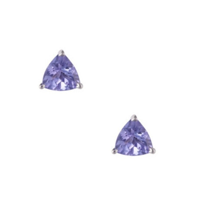 9ct White Gold Trillion Tanzanite Stud Earrings