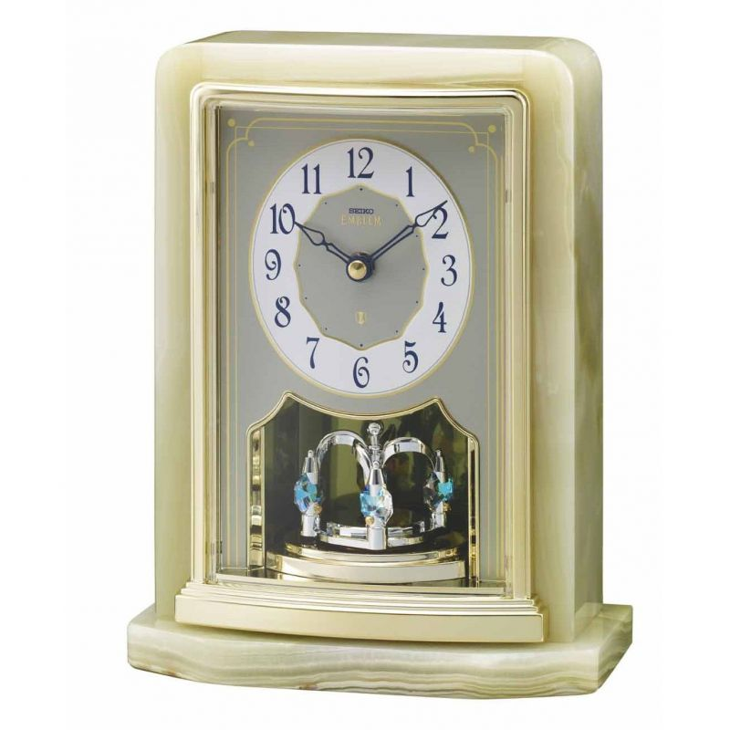 Seiko Emblem Marble Dual Chime Mantle Clock AHW465G