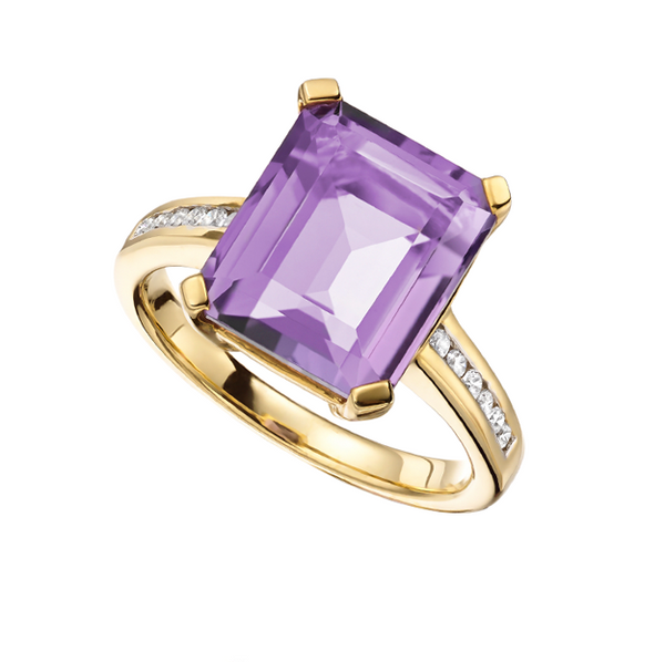 Lavender Ring by Amore Amethyst & Diamond 9ct Gold