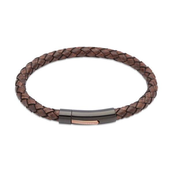 Unique & Co Mens Leather Bracelet B320ADB
