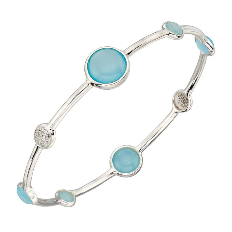 Sterling Silver Blue Agate Bangle