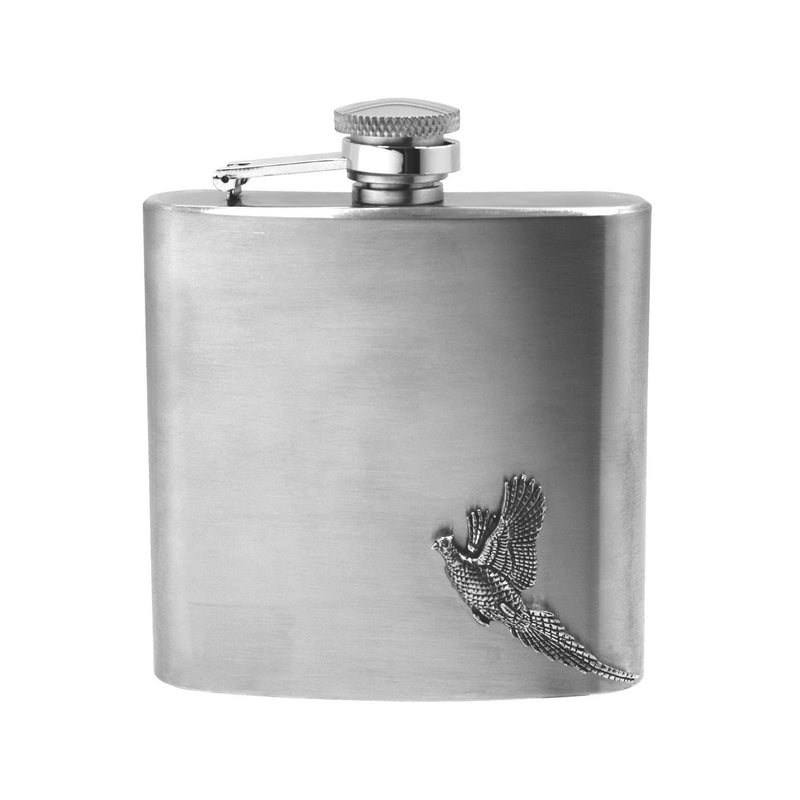 Stainless Steel Pheasant Hip Flask 6oz CS235