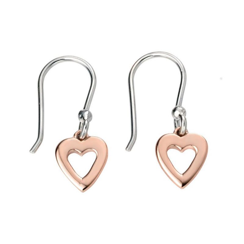 Silver & Rose Heart Drop Children's Earrings
