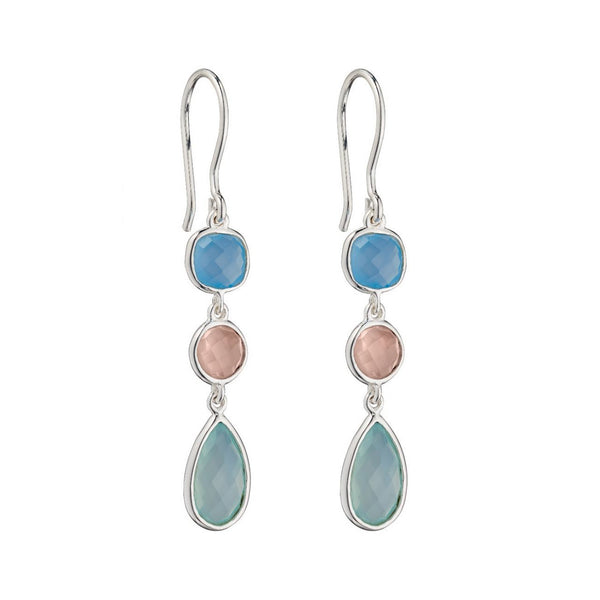 Sterling Silver Rose Quartz with Blue & Aqua Chalcedony Drop Earring E5698
