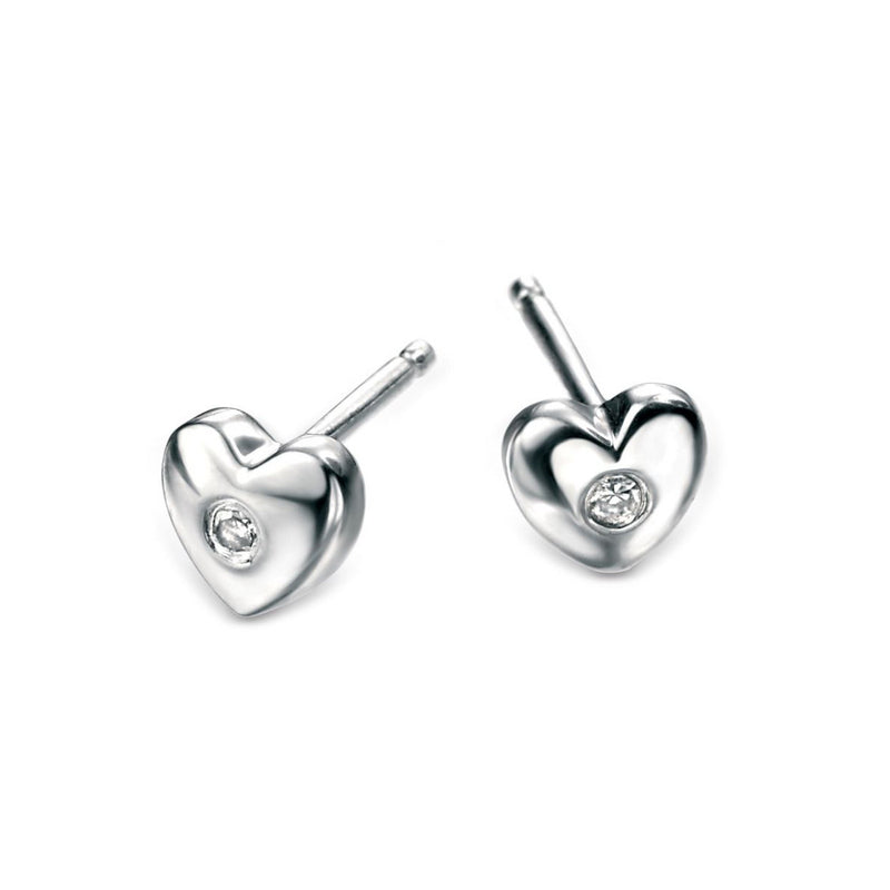 D for Diamond Diamond Set Heart Stud Children's Earrings