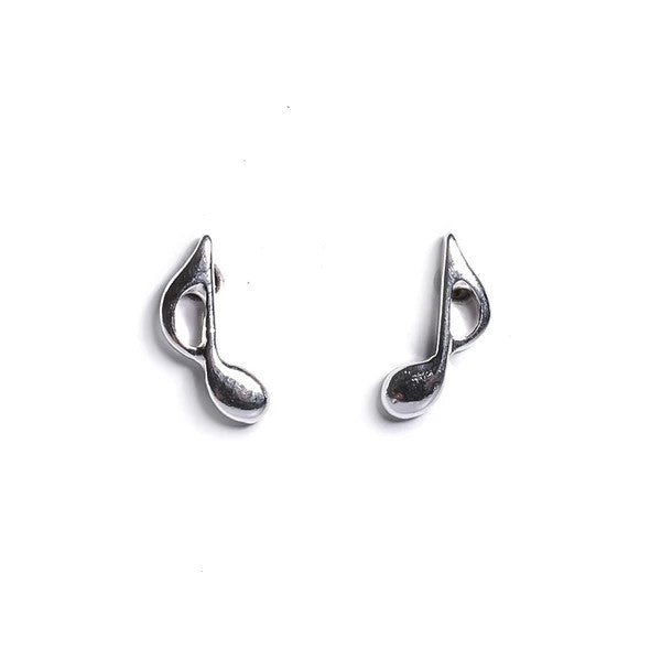 Henryka Music Note Stud Earrings in Silver