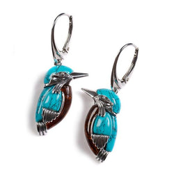 Henryka Kingfisher Bird Drop Earrings in Silver, Turquoise and Amber