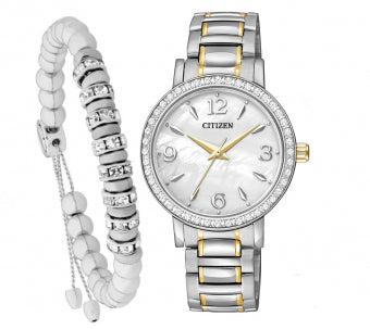 Citizen Eco Drive Ladies Watch and Bracelet Giftset EL3044-54D