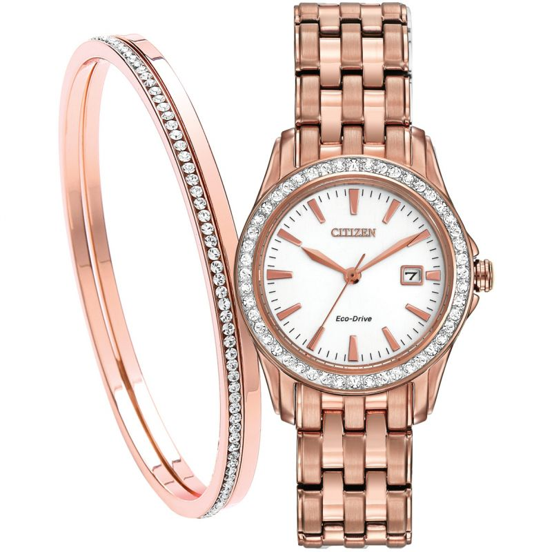 Citizen Eco Drive Ladies Rose Crystal Bracelet Watch and Bangle Set EW1903-52A