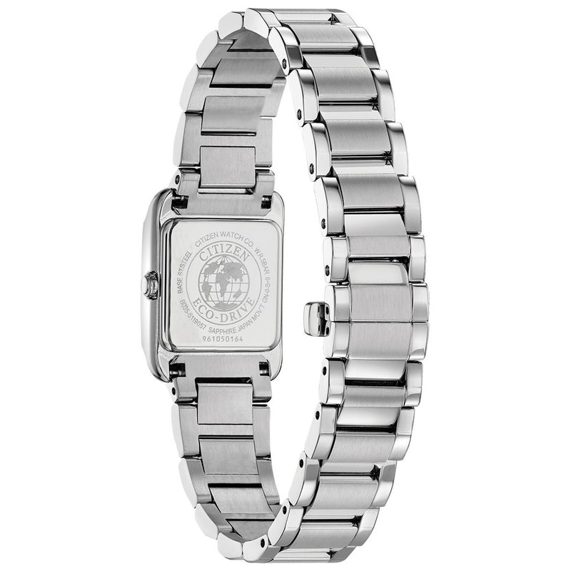 Citizen Eco Drive Ladies Square Watch EW5551-56N back