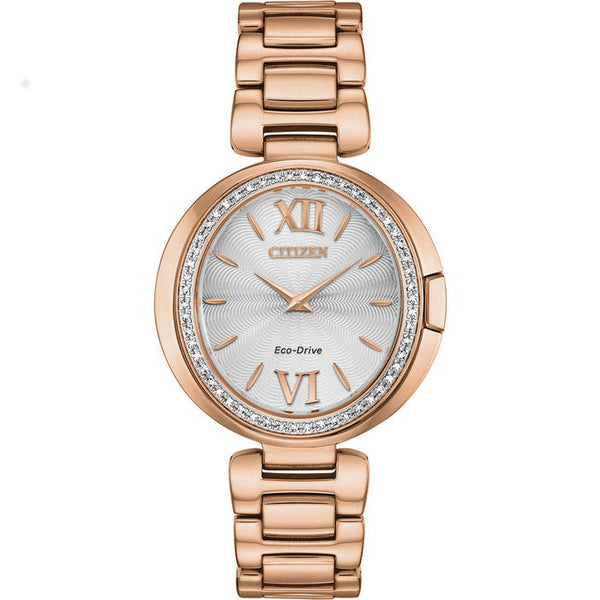 Citizen Ladies Eco Drive Capella Diamond Rose Tone Watch EX1503-54A