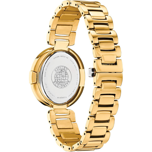 Citizen Ladies Eco Drive Capella Diamond Gold Tone Watch EX1512-53A Back