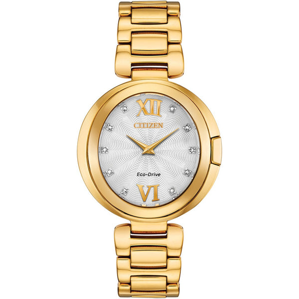 Citizen Ladies Eco Drive Capella Diamond Gold Tone Watch EX1512-53A
