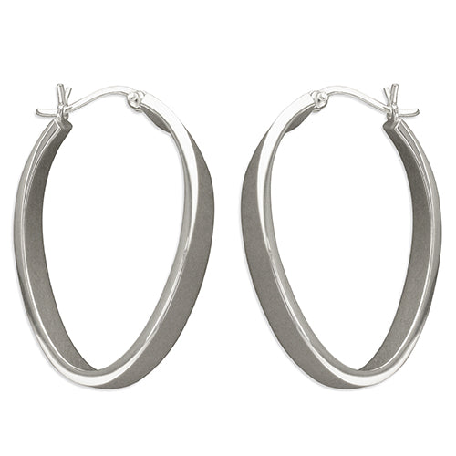 Sterling Silver 40mm Flat Oval Hoop Earrings