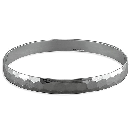 Sterling Silver 8mm Beehive Faceted Slave Bangle