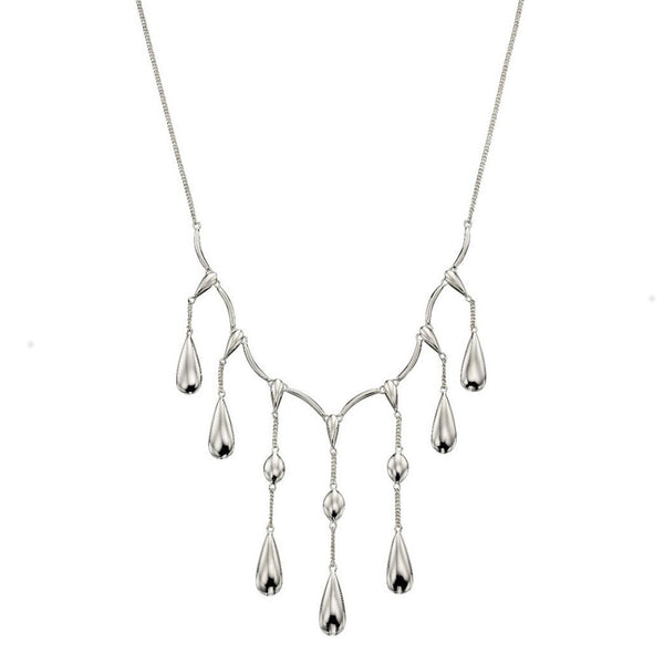 Sterling Silver Multi Teardrop Necklace N4289
