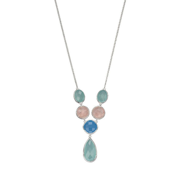 Sterling Silver Rose Quartz with Blue & Aqua Chalcedony Necklace