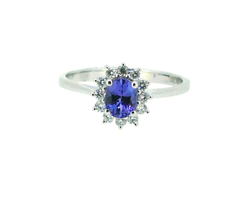 Tanzanite & Diamond Oval Cluster Ring 18ct White Gold