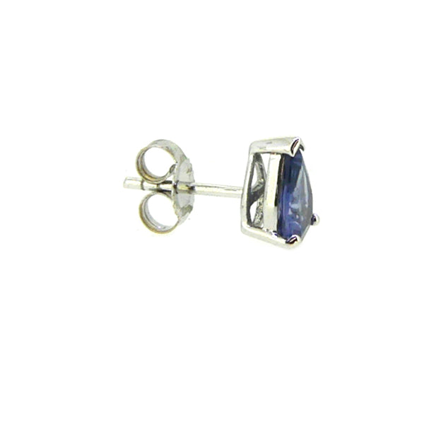 9ct White Gold Pear Shaped Sapphire Stud Earrings side