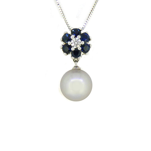 9ct White Gold Sapphire, Pearl & Diamond Necklace