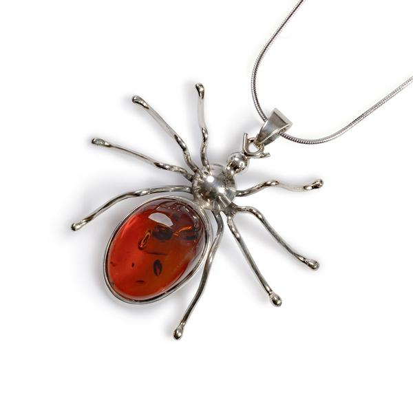Henryka Handmade Spider Necklace in Silver and Amber