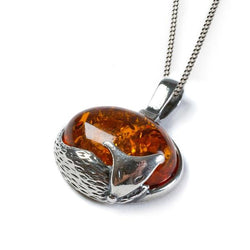 Henryka Sleeping Fox Necklace in Silver and Cognac Amber