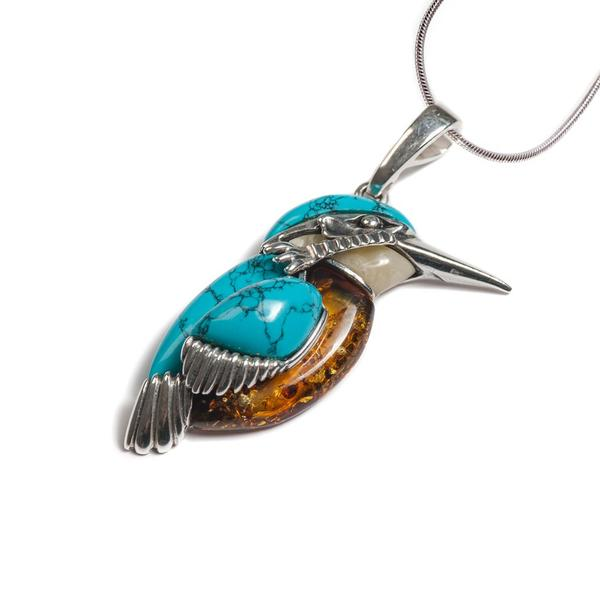 Henryka Large Kingfisher Bird Necklace in Silver, Turquoise and Amber