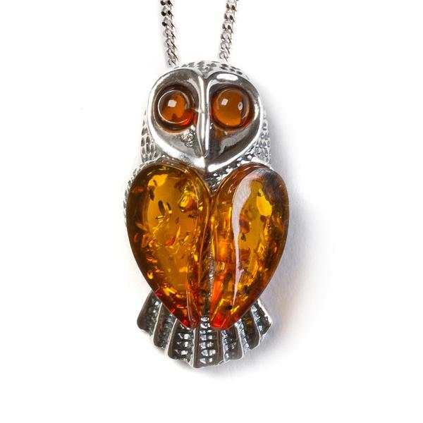 Henryka Barn Owl Necklace in Silver and Amber