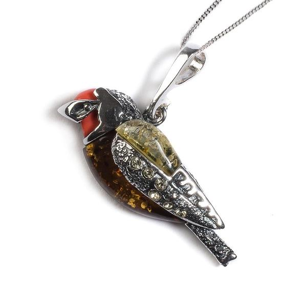 Henryka Goldfinch Bird Necklace in Silver, Coral and Amber