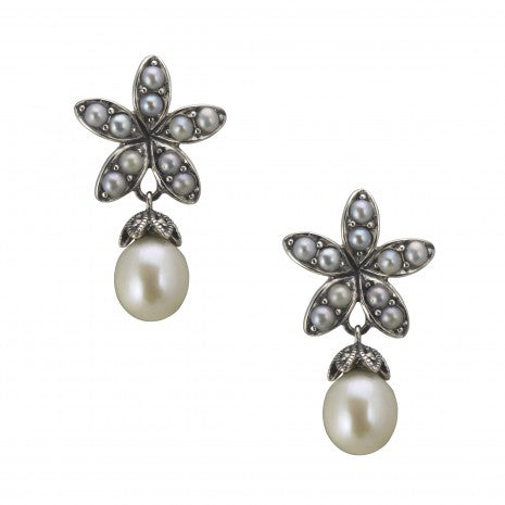 Silver Marcasite & Pearl Drop Earrings