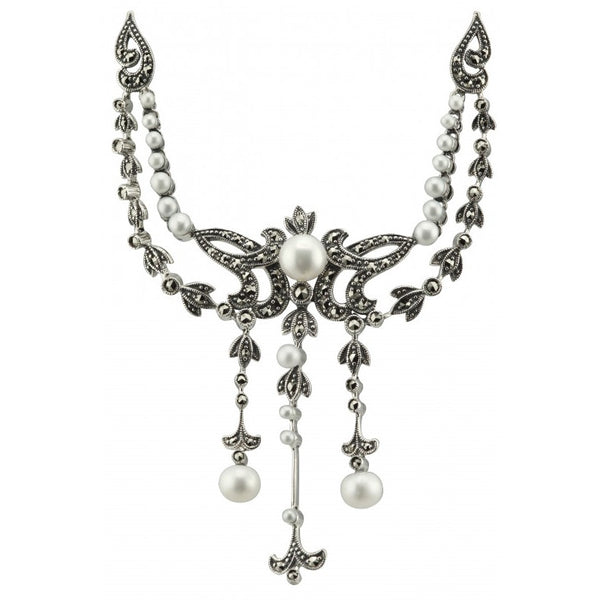 Pearl & Marcasite Large Necklace PMN004PRL