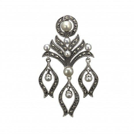 Silver Pearl & Marcasite Brooch PMPB019PRL