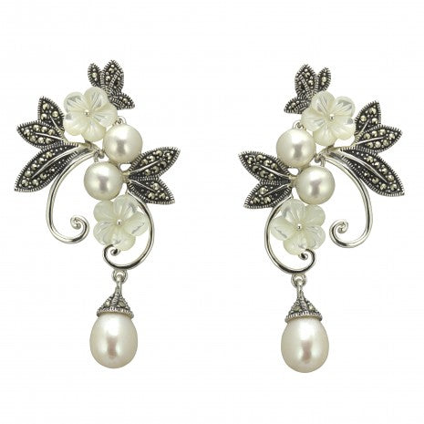 Silver Marcasite Pearl Drop Earrings PNE013